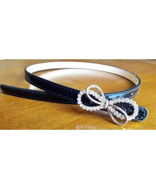 Milonee Belt With Stone Studded Bow Buckle - Black