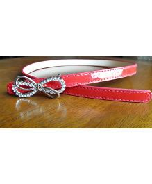Milonee Belt With Stone Studded Bow Buckle - Red