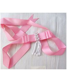 Milonee Studded Bow And Pearl Belt - Pink