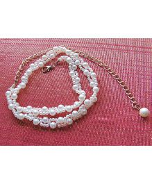 Milonee Double Strand Pearl Belt With Chain - White