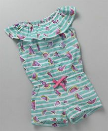 Vitamins Cap Sleeves Jumpsuit Watermelon Print - Sea Green