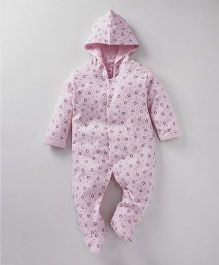 Pink Rabbit Full Sleeves Hooded Sleep Suit Penguin Print - Pink