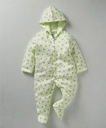 Pink Rabbit Full Sleeves Hooded Sleep Suit Penguin Print - Green