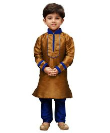 JBN Creation Highlighted V Collar Kurta & Churidaar Pyjama Set - Coffee & Blue