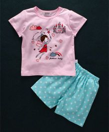 Honey Hut Fairy Printed Tee & Shorts Set - Pink & Blue