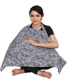 Lulamom Feeding & Nursing Cover Leaves Print - Light Grey