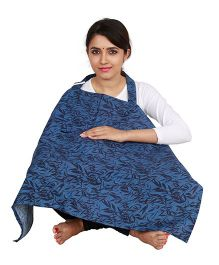 Lulamom Feeding & Nursing Cover Leaves Print - Blue