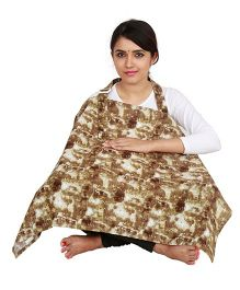 Lulamom Feeding & Nursing Cover Abstract Print - Off White Brown