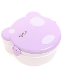 Polka Dot Clip Lock Lunch Box - White Purple