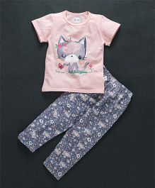 Honey Hut Pretty Cat Print Night Suit - Pink & Grey