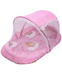Musical Bedding Set With Mosquito Net Bear Print - Pink