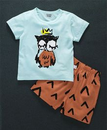 Honey Hut Half Sleeves Owl Print T-Shirt with Shorts - Blue & Orange