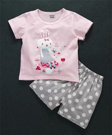 Honey Hut Half Sleeves Bunny Print T-Shirt with Shorts - Pink & Grey