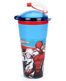 Marvel Spiderman Tumbler With Flexible Straw & Lid Blue - 470 ml