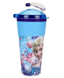 Disney Frozen Tumbler With Flexible Straw & Lid Blue - 470 ml