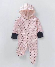 Earth Conscious Full Sleeves Romper With Hood - Pink