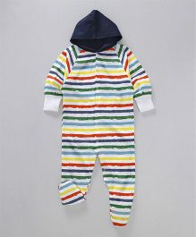 Earth Conscious Full Sleeves Romper With Hood - Multicolor