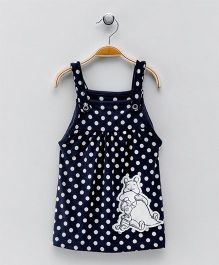 Earth Conscious Dungaree Style Dress - Navy & White
