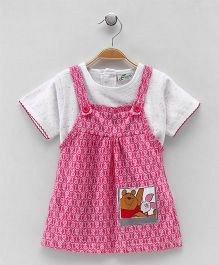 Earth Conscious Dungaree Style Dress - Pink & Grey