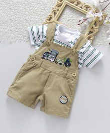 ToffyHouse Corduroy Dungaree With Half Sleeves T-Shirt Train Patch - Beige