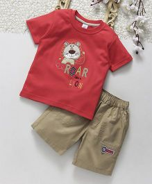 ToffyHouse Half Sleeves Lion Patched T-Shirt & Shorts Set - Dark Coral