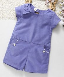 ToffyHouse Short Sleeves Corduroy Jumpsuit Bow Design - Mauve