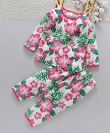 ToffyHouse Full Sleeves Night Suit Floral Print - Pink Green