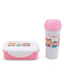 Lunch Box With Tumbler Kitty Print - Pink