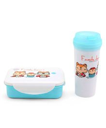 Lunch Box With Tumbler Kitty Print - Blue