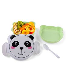 Lunch Box With Spoon Animal Design - Light Green