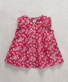 Bee Born Flower Print Dress - Red