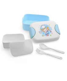 Lunch Box With Spoon And Fork - White Blue