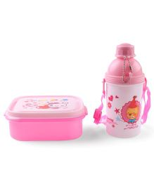 Lunch Box With Water Bottle Spoon & Fork Pink - 360 ml