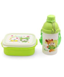 Lunch Box With Water Bottle Spoon & Fork Green - 360 ml
