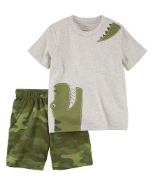 Carter's 2-Piece Jersey Tee & French Terry Short Set - Grey Olive Green