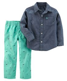 Carter's 2-Piece Chambray Shirt & Canvas Pant Set - Blue & Green