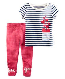 Carter's 2-Piece French Terry Top & Polka Dot Legging Set - Pink