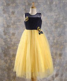 M'PRINCESS Sleeveless Gown With Flower Applique - Yellow & Navy