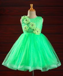 M'PRINCESS Flower Applique Party Wear Dress - Green
