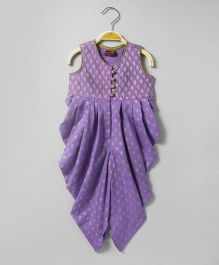 Twisha Dhoti Jumper With Potli Buttons & Brocade Yoke - Lavender