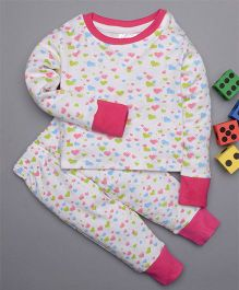 Treasure Trove Heart Overall Print Nightsuit - Pink