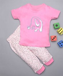Treasure Trove Tiny Elephant & Floral Overall Print Nightsuit - Baby pink