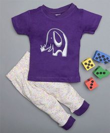 Treasure Trove Tiny Elephant & Floral Overall Print Nightsuit - Purple