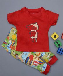 Treasure Trove Teddy & Playground Print Nightsuit - Red