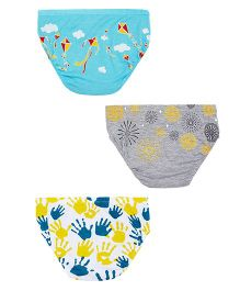 Plan B Set Of 3 Fun & Festive Underwear For Boys - White Grey & Blue