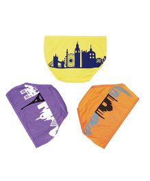 Plan B Set Of 3 Around The World In Three Days Underwear For Girls - Orange Purple & Yellow