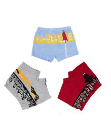 Plan B Set Of 3 Mighty Men Boxer Shorts - Red Blue & Grey