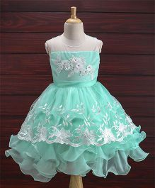 Babyhug Full Length Party Wear Dress With Floral Embroidery - Mint Green