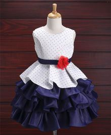 Babyhug Sleeveless Layered Party Wear Frock - White Navy Blue