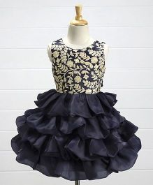 Babyhug Sleeveless Layered Party Frock Floral Embroidered - Navy Blue